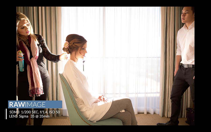 raw image off-camera flash setup for bride getting ready