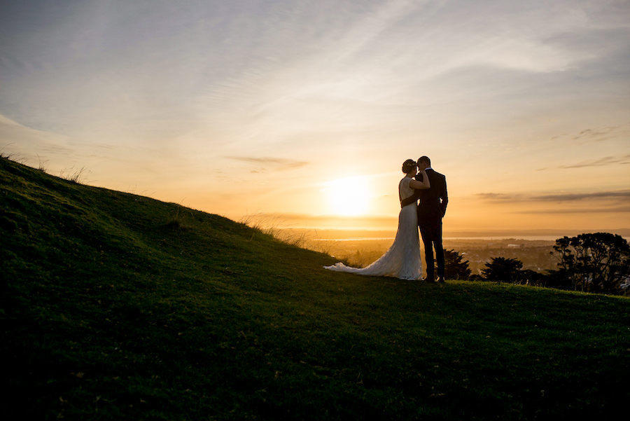 wedding photography portraits in sunset