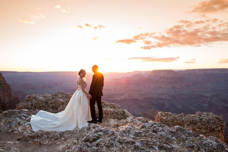 sunset outdoor wedding photography
