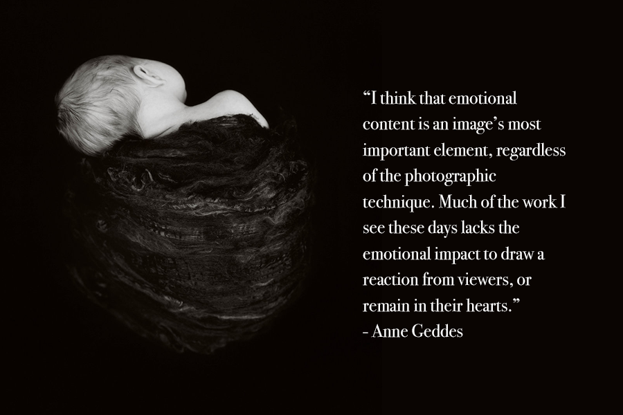 A black background with an black and white shot of a newborn wrapped in a blanket, with an Anne Geddes photography quote.