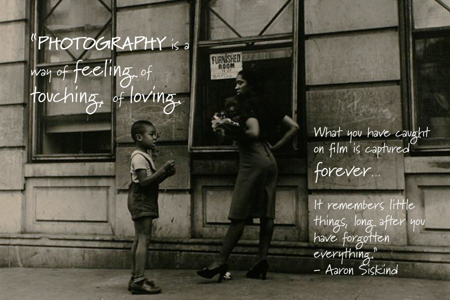 A film-like image of two people on the street outside of an apartment complex with an Aaron Siskind photographer quote.