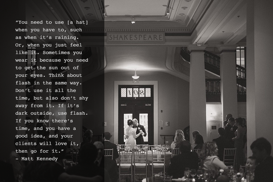 A black and white image of a first dance in a reception hall with a top photography quote from photographer Matt Kennedy.
