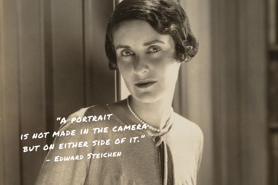 A quote for photographers from Edward Steichen on a film-like image of a woman with short hair and a pearl necklace looking at the camera.