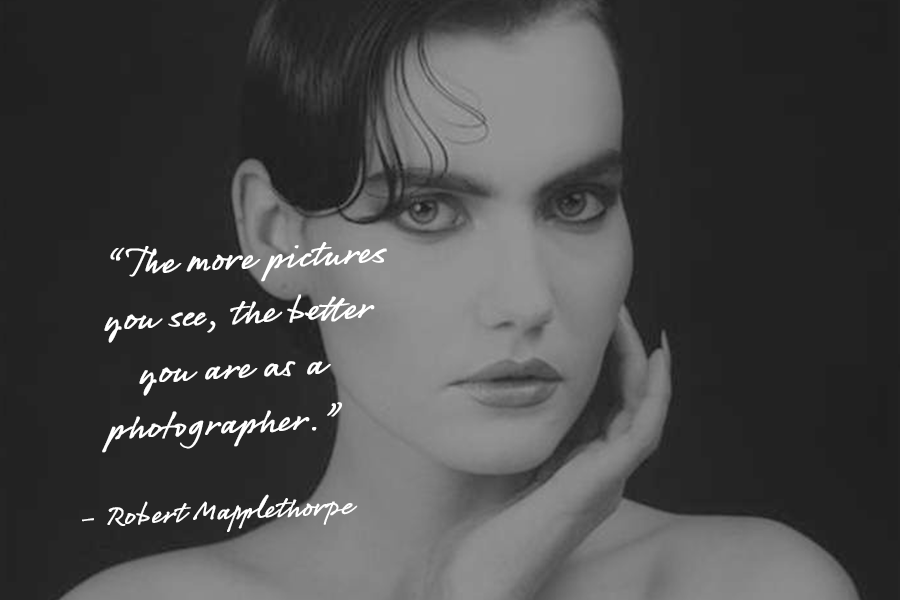 A photography inspirational quote by Robert Mapplethorpe over a black and white headshot of a woman with short hair, holding her hand to the side of her face.