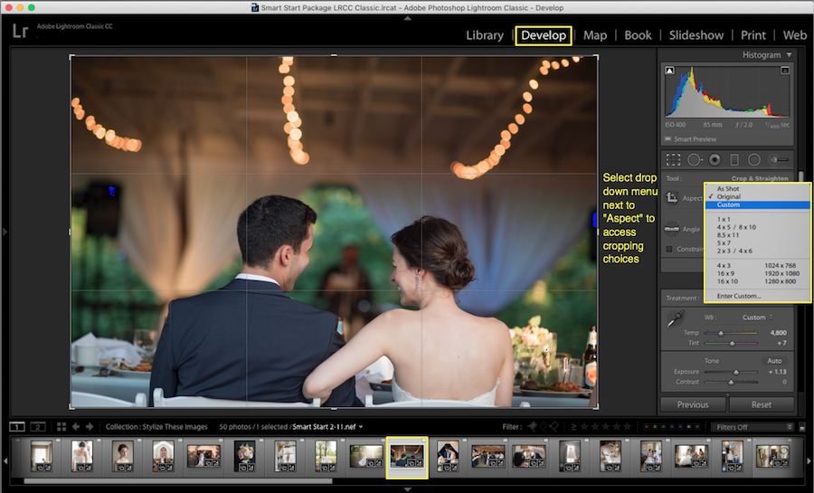 select crop settings lightroom