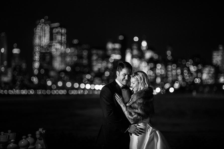 black and white couple portrait blurred background