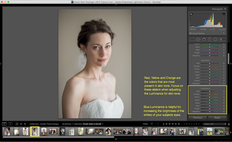 adjust luminance in lightroom