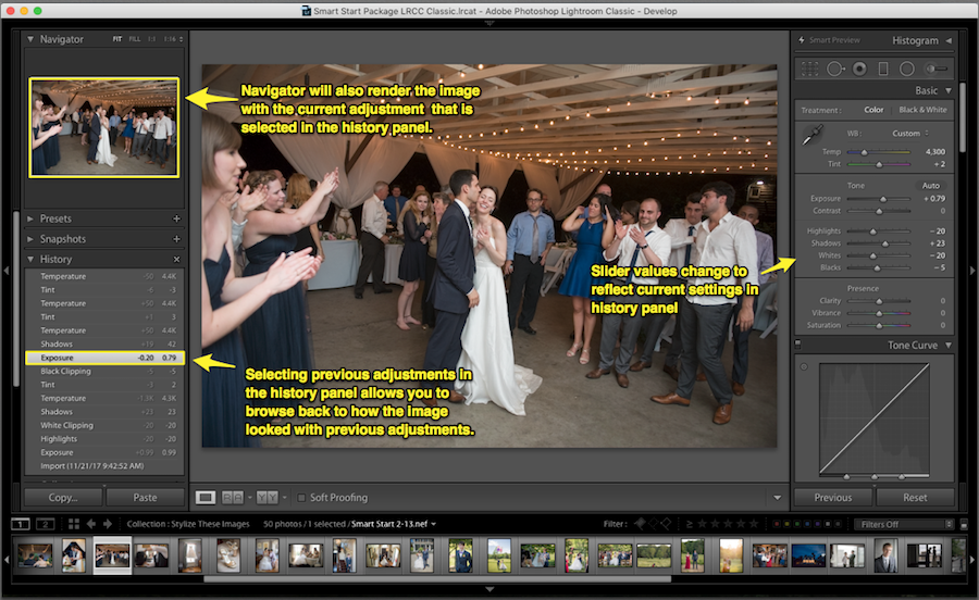 choose lightroom undo action