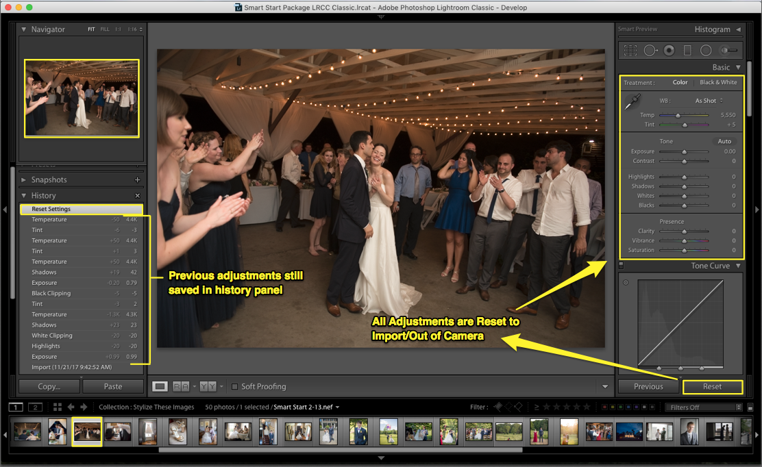 reset in lightroom
