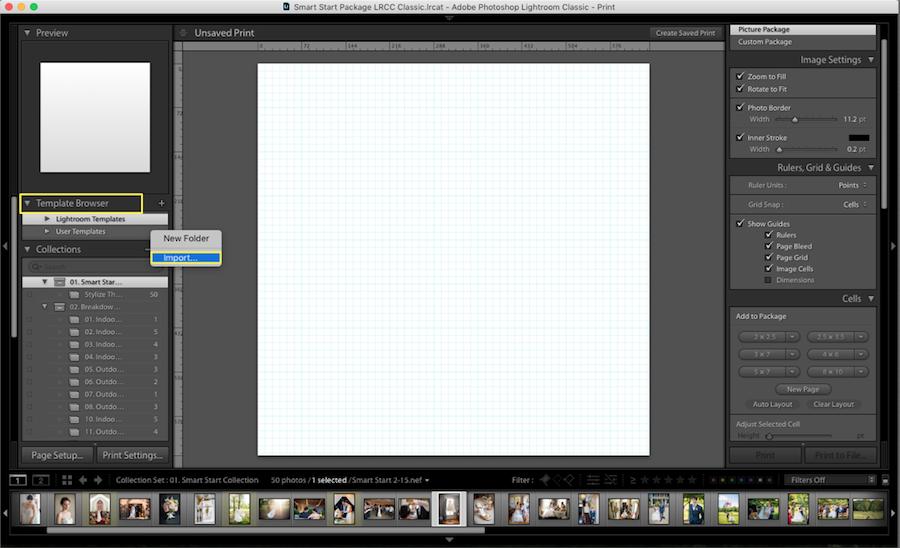 lightroom import collage template