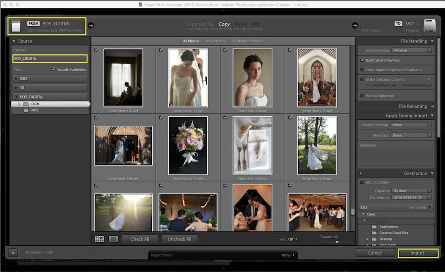 import images into lightroom