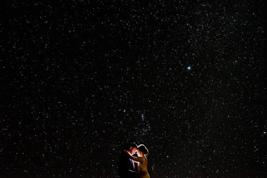 black starry sky couple portraits