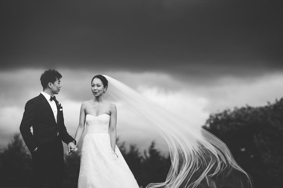 black and white bridal portraits veil