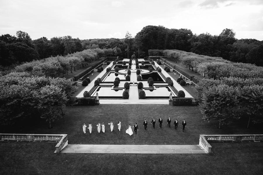 wedding party black and white overview