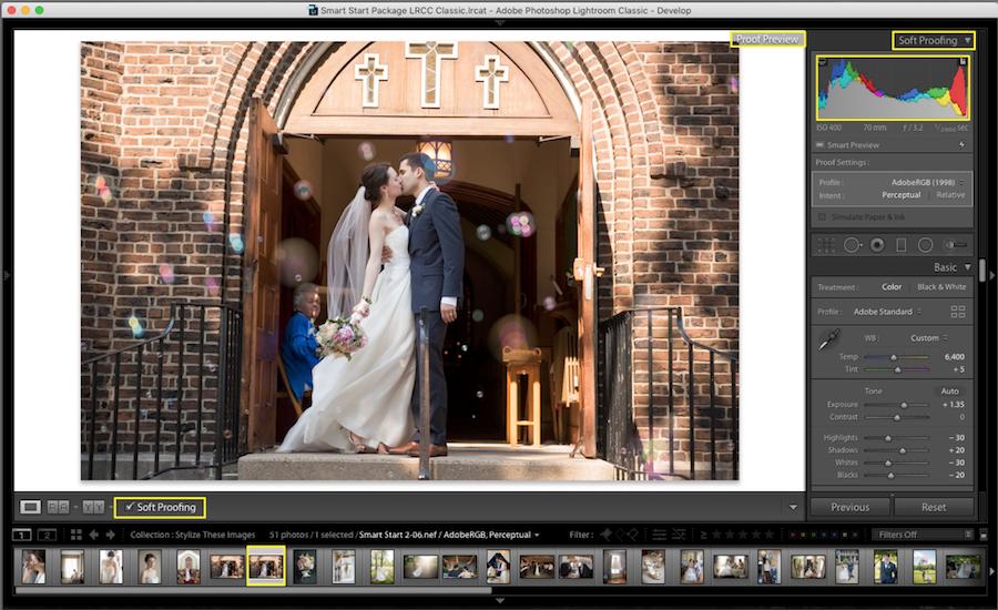 adjust image histogram lightroom soft proofing
