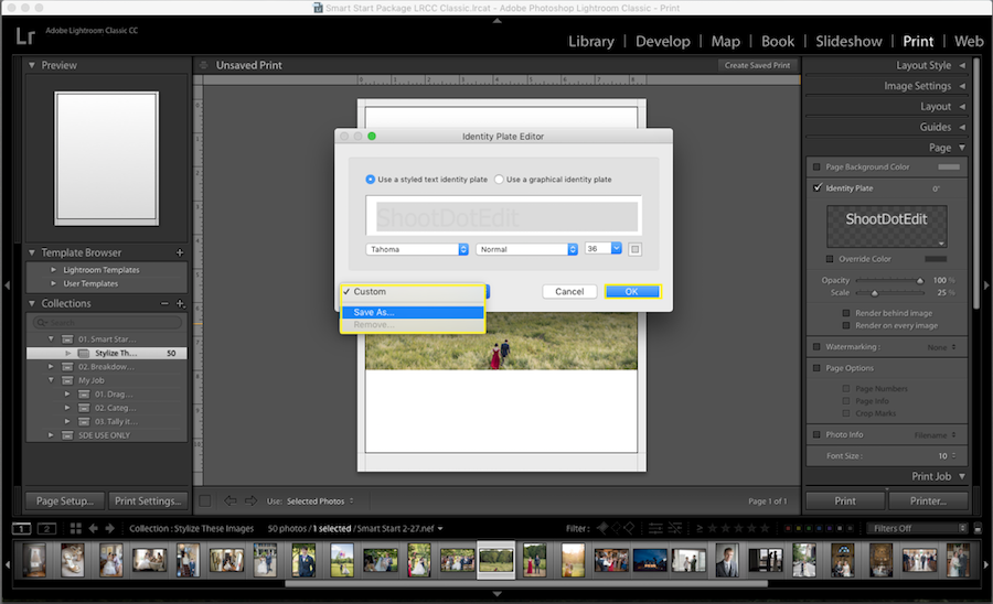lightroom save identity plate