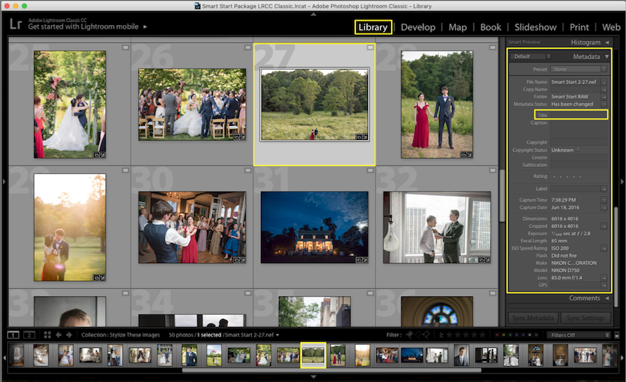 update metadata title lightroom