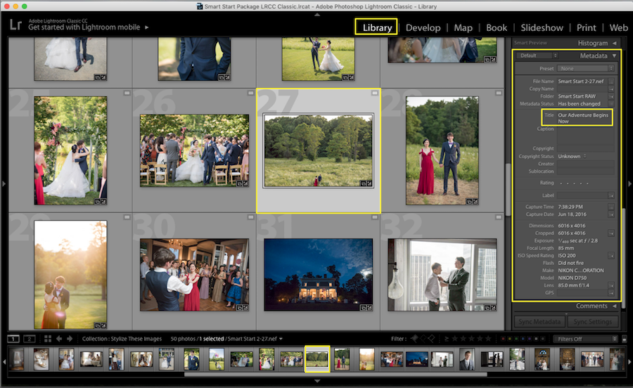 add metadata title lightroom