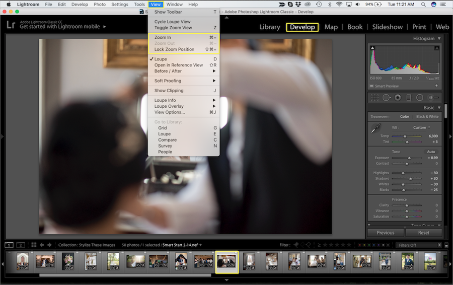 zoom in lightroom