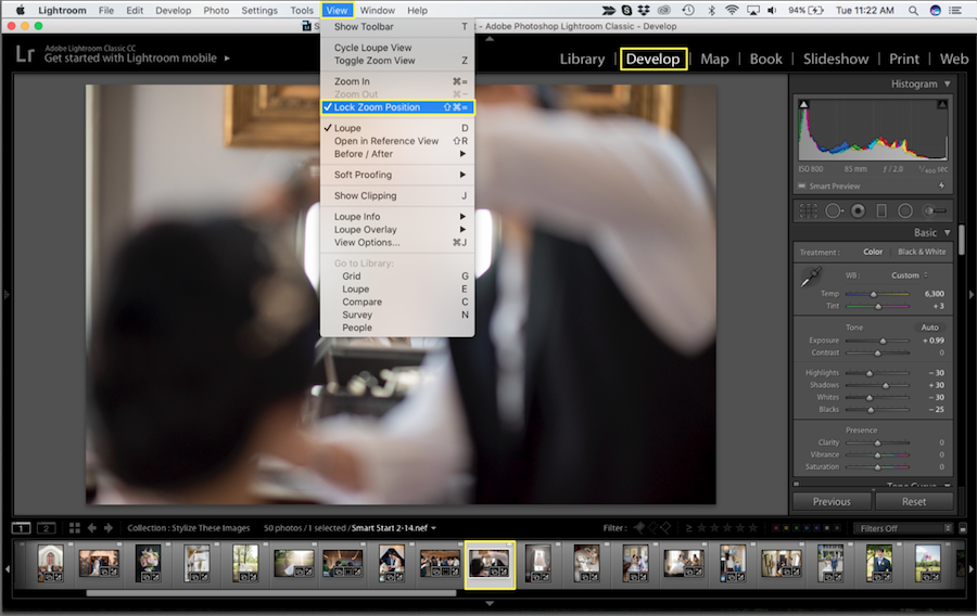 zoom lock lightroom settings