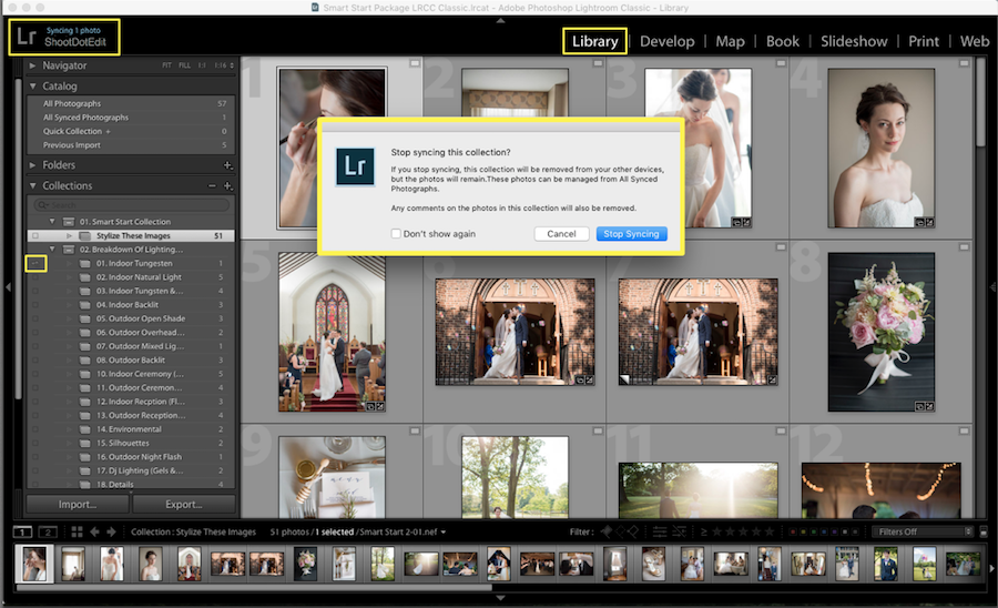 how to disable photo collection syncing lightroom