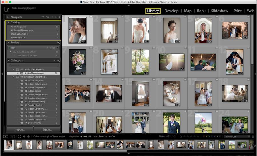 organize photos lightroom catalog