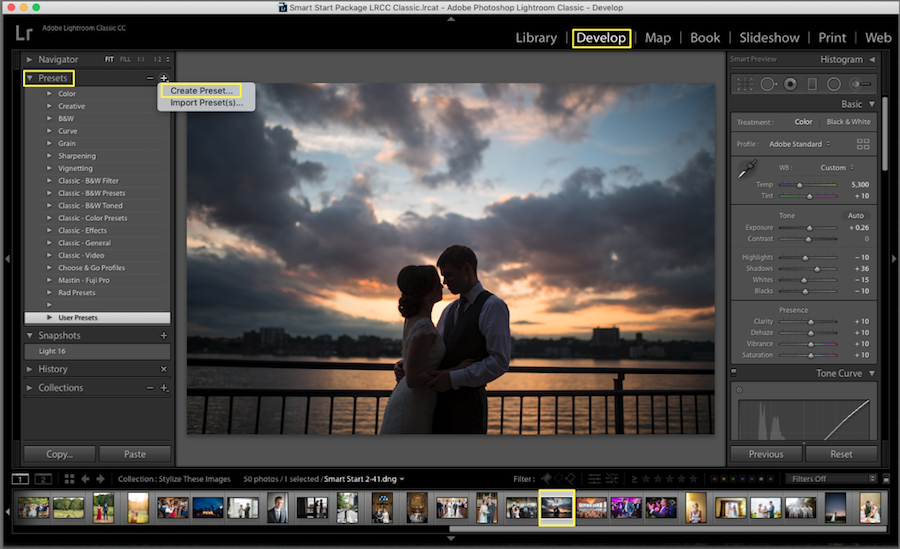 creating a preset in lightroom