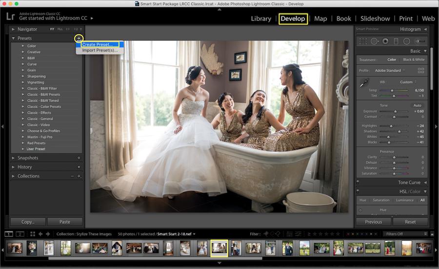 create preset in lightroom