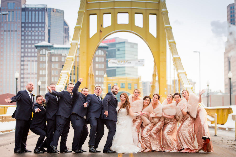 snowy wedding party portraits