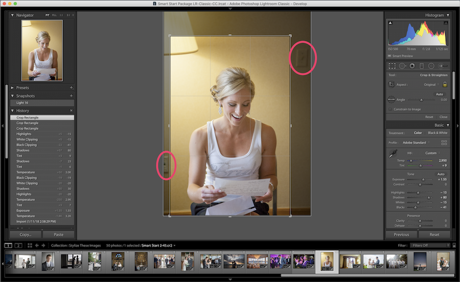 cropping edges in lightroom