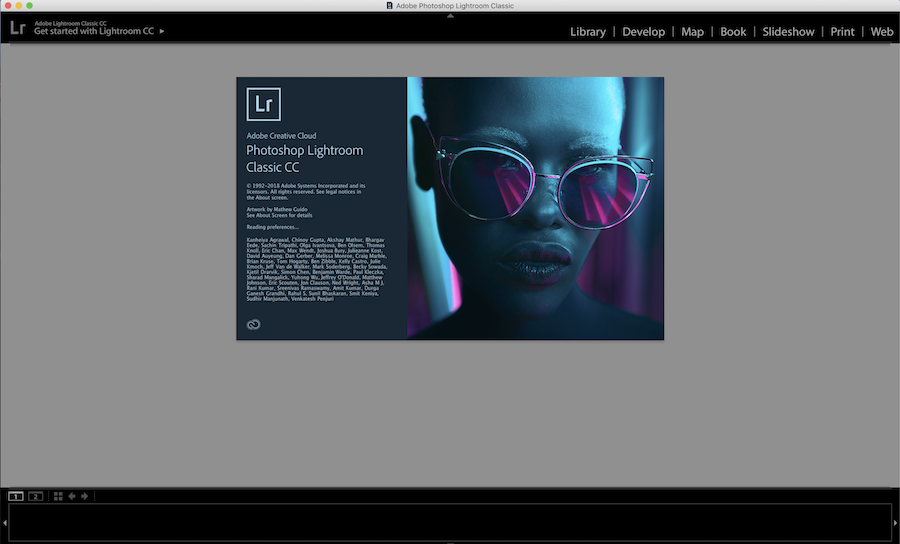 adobe lightroom loading screen