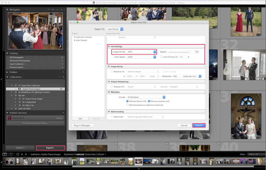 export images lightroom to jpg