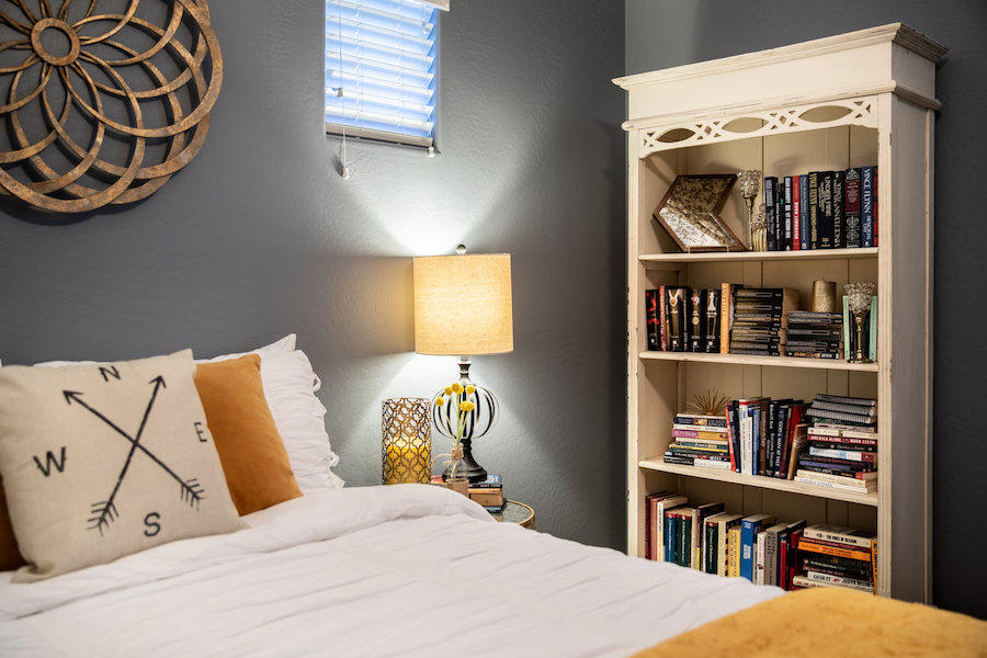 bedroom with bookcase