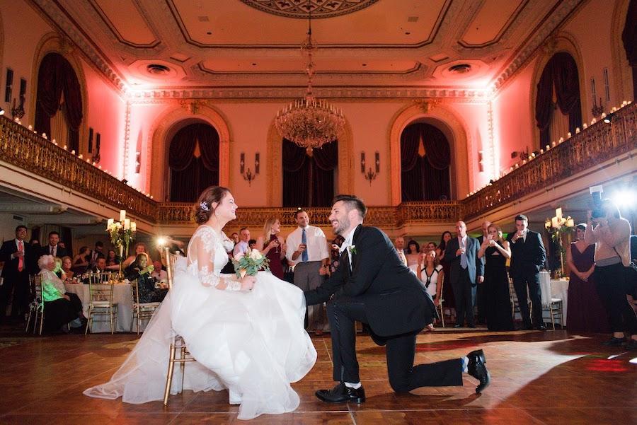 bride and groom reception garter