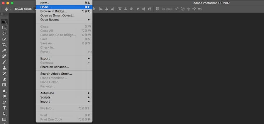click open in photoshop menu