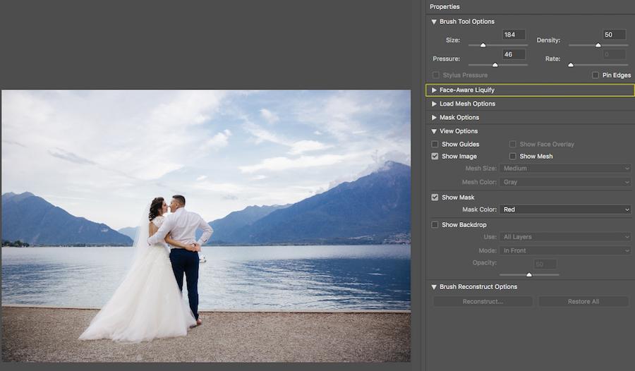 face-aware liquify tool menu photoshop