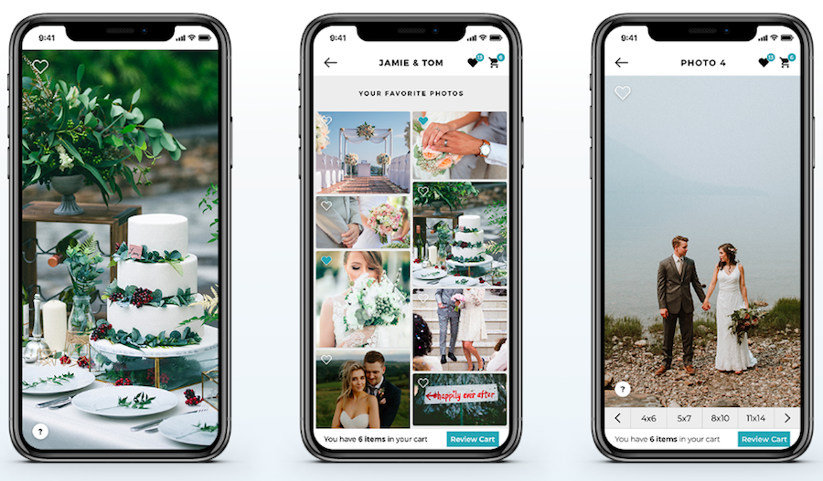 3 images of phones featuring shootdotedit's extra app, an online gallery for wedding photographers.