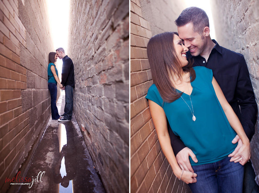 Two images side by side of a couple taking their engagement portraits in an outdoor alley.