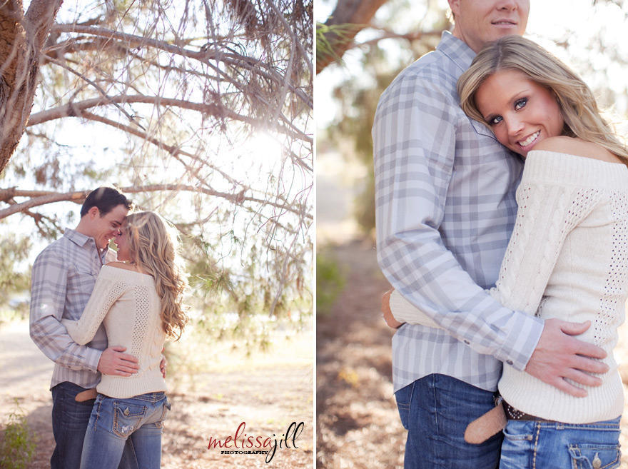 Two engagement shoot images of the couple standing together outdoors under a tree.