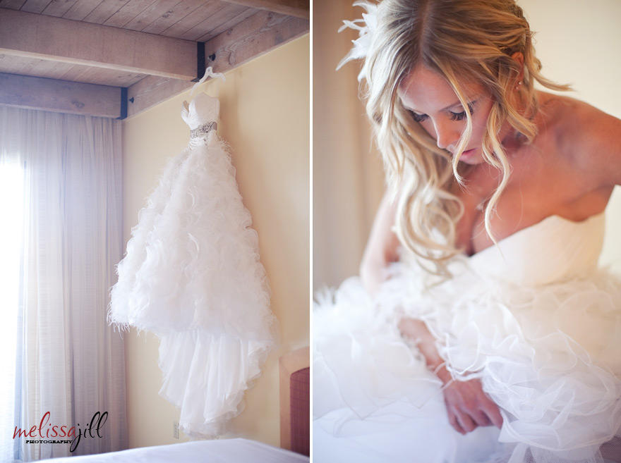 Two images side by side of the bride's dress hanging alone and the bride in her dress.