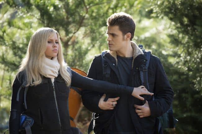 Claire Holt as Rebekah and Paul Wesley as Stefan The Vampire Diaries