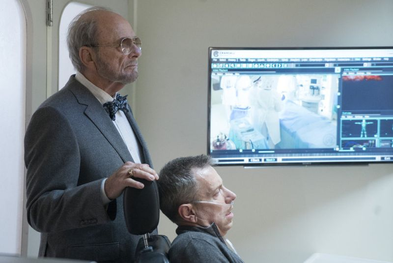 "THE BLACKLIST -- ""Sir Crispin Crandall"" Episode 306 -- Pictured: (l-r) Harris Yulin as Crispin Crandall, Arnie Kucera Dr. Kucera -- (Photo by: Peter Kramer/NBC)"
