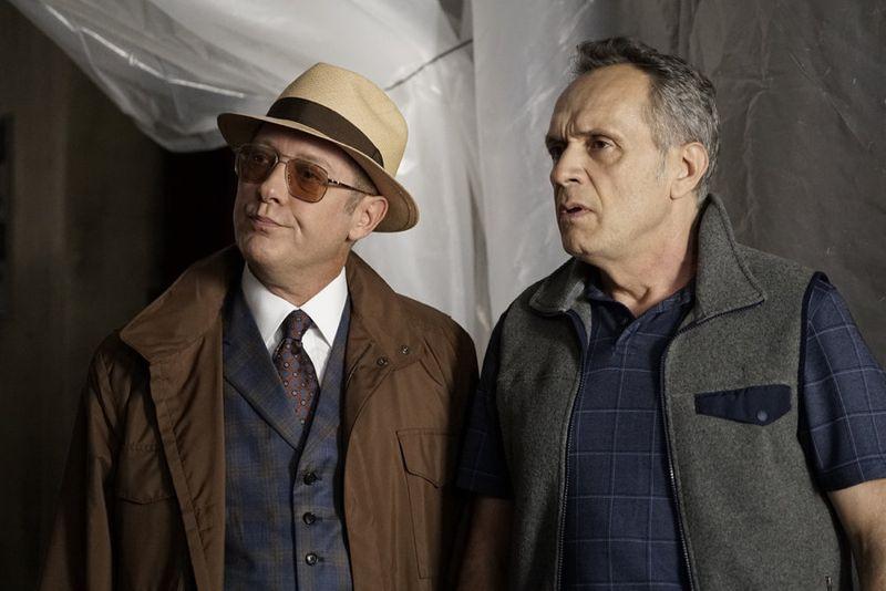 "THE BLACKLIST -- ""Sir Crispin Crandall"" Episode 306 -- Pictured: (l-r) James Spader as Red Reddington, Simon Jutras as Inspector -- (Photo by: Peter Kramer/NBC)"