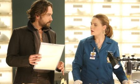 """BONES: L-R: Guest star Tim Mison and Emily Deschanel in the special """"The Resurrection in the Remains"""