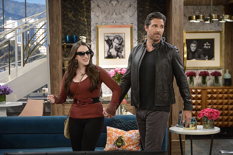"""""""And You Bet Your Ass"""" -- Pictured: Max Black (Kat Dennings) and Randy (Ed Quinn). Caroline continues meeting with studio writers in an effort to make her life story into a movie, but she is torn when they reveal they would not portray Max in the project. Also, Max is being spoiled by her new Hollywood beau, Randy (Ed Quinn), who sets Caroline up on a date with his friend, Bob, on 2 BROKE GIRLS, Thursday, March 3 (9:30-10:00 PM, ET/PT) on the CBS Television Network. George Hamilton guest stars as Bob, a former studio mogul. Photo: Darren Michaels/Warner Bros. Entertainment Inc. © 2016 WBEI. All rights reserved."""