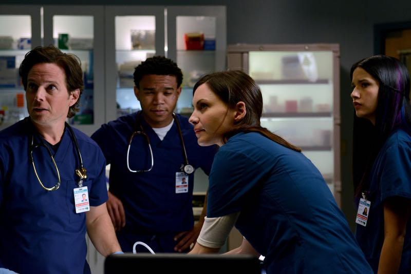 "THE NIGHT SHIFT -- ""The Times They Are-A-Changin"" Episode 301 -- Pictured: (l-r) Scott Wolf as Dr. Scott Clemmens, Robert Bailey Jr. as Dr. Paul Cummings, Tanaya Beatty as Shannon Rivera, Jill Flint as Dr. Jordan Alexander -- (Photo by: Ursula Coyote/NBC)"