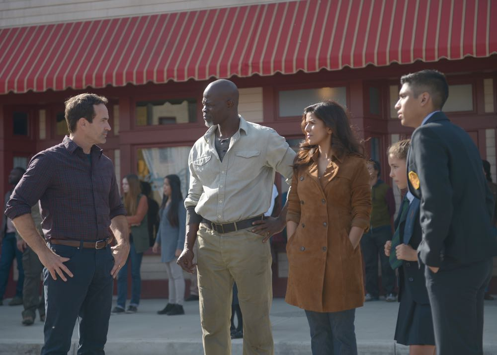 "WAYWARD PINES: L-R: Jason Patric, Djimon Hounsou, Nimrat Kaur, guest star Emma Tremblay and guest star Michael Garza in the ""Once Upon A Time in Wayward Pines"" episode of WAYWARD PINES airing Wednesday, June 8 (9:00-10:00 PM ET/PT) on FOX. ©2016 Fox Broadcasting Co. Cr: Sergei Bachlakov/FOX"