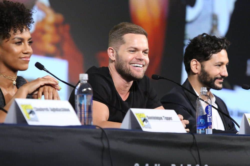 "COMIC-CON INTERNATIONAL: SAN DIEGO -- ""The Expanse Panel"" -- Pictured: (l-r) Dominique Tipper, Wes Chatham, Cas Anvar -- (Photo by: Evans Vestal Ward/Syfy)"