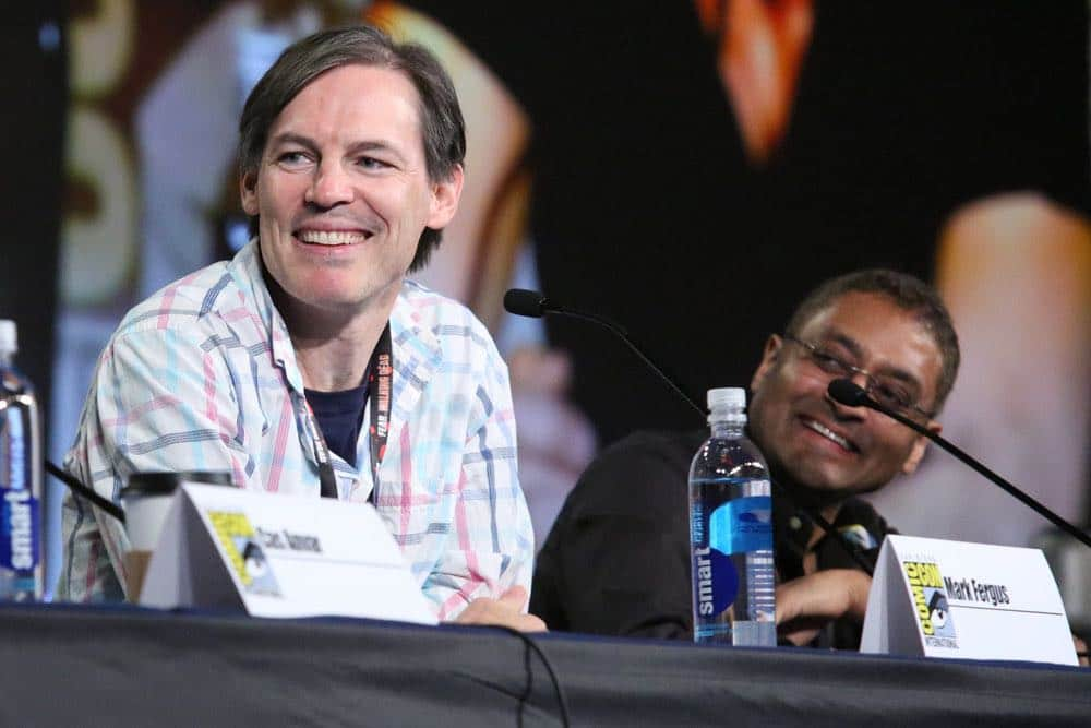 "COMIC-CON INTERNATIONAL: SAN DIEGO -- ""The Expanse Panel"" -- Pictured: (l-r) Executive Producers Mark Fergus, Naren Shankar -- (Photo by: Evans Vestal Ward/Syfy)"