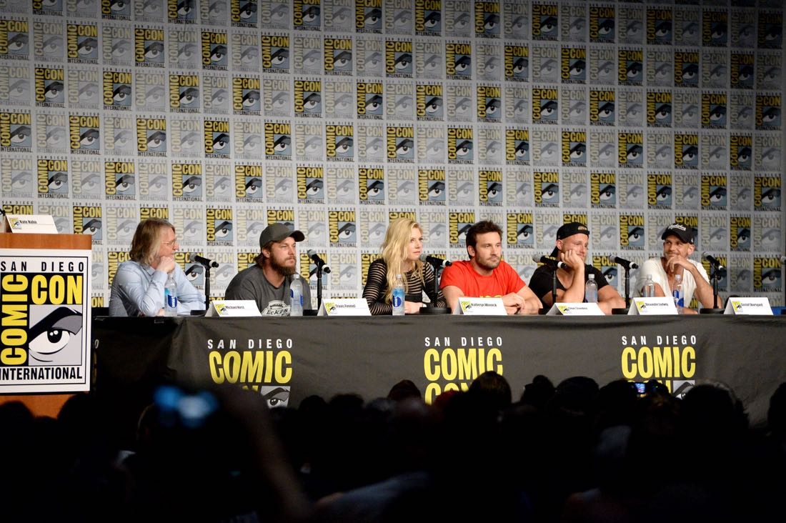 """SAN DIEGO, CA - JULY 22: Writer/executive producer Michael Hirst, actors Travis Fimmel, Katheryn Winnick, Clive Standen, Alexander Ludwig, Gustaf Skarsgard attend the """"Vikings"""" panel during Comic-Con International 2016 at San Diego Convention Center on July 22, 2016 in San Diego, California. (Photo by Charley Gallay/Getty Images for HISTORY )"""
